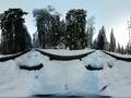 360 VR Narrow gauge railway rails in snowy winter forest Harz mountain range 4k or 4k+ Resolution