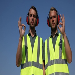 Airport Transportation Crew Men Hand Gesture Ok Sign Posing Serious Airport Zone Stock Footage