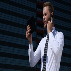 Confident Businessman Cooperation Dialogue Using Digital Tablet Positive Respons Stock Footage