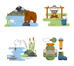 Set of camping equipment vector icons. Piirros