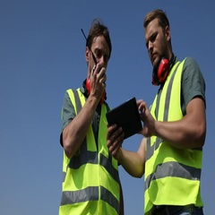 Airport Employee Talk Two Way Walkie Talkie Holding Transceiver Radio Team Work Stock Footage