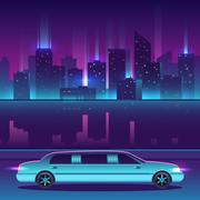 Limousine vector in front of night city urban landscape, luxury metropolis. Stock Illustration