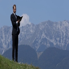 Serious Man Future Business Plans on Agenda Beautiful Mountains Outdoor Office Stock Footage