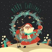 Reindeer and Santa embracing each other Stock Illustration