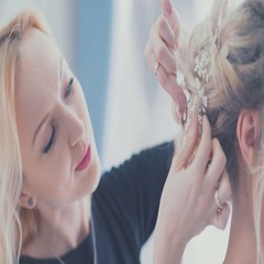 Hair accessory. Wedding stylist helps to collect the bride. Fees bride Stock Footage