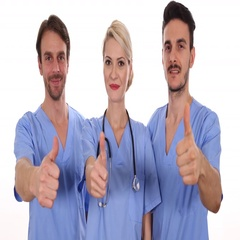 Attractive Medical Team Look Camera Happy Show Thumb Up Sign Health Care Center Arkistovideo
