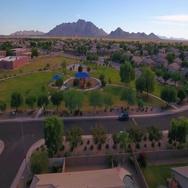 Aerial Establishing Shot of Typical Arizona Neighborhood Park   Stock Footage
