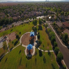 Aerial Establishing Shot of Typical Arizona Residential Neighborhood Park  	 Stock Footage