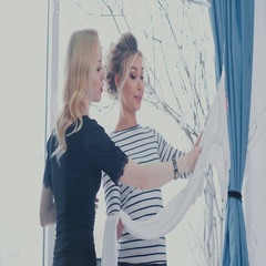 Wedding consultant helps choose the outfit. Female friendship Stock Footage
