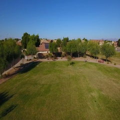 Rising Aerial Establishing Shot of Typical Arizona Residential Neighborhood  	 Stock Footage