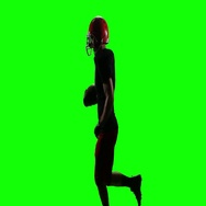 Football player running with the ball for the winning player. Green screen Stock Footage
