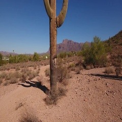 Rising Aerial Establishing Shot of Superstition Mountain in Arizona  	 Stock Footage