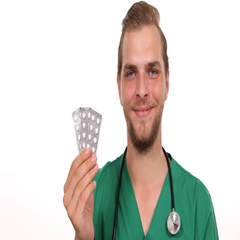 Handsome Physician Man Showing Pills Smiling Positive to Camera Hospital Center Stock Footage