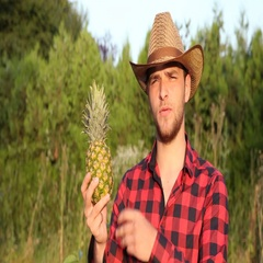 Confident Farmer Man Presenting Attractive Pineapple and Talking About Vitamins Stock Footage