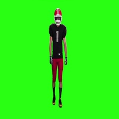 Football goes in sports gear and boots. Slow motion, green screen Stock Footage