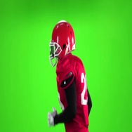 Football player running with the ball. Slow motion. Close up. Green screen Stock Footage