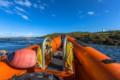 Rigid inflatable boat bow Stock Photos