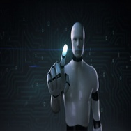 Robot, cyborg touching screen, artificial intelligence, computer technology 1. Stock Footage