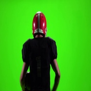The athlete with the ball and helmet. Slow motion, green screen Stock Footage