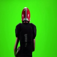 Guy throwing a football and running. Slow movement, Green screen Stock Footage