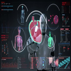 Robot touching body scanning blood vessel, lymphatic, heart in digital display . Stock Footage