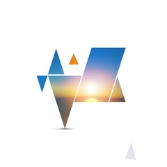 Abstract intro design with triangles, sunset and hot air balloons Stock Footage