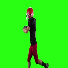 Rugby player running with the ball in his hands. Green screen Stock Footage