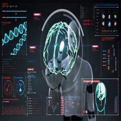 Robot touching digital screen, humanoid, Scanning Brain in digital display. Stock Footage