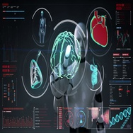Robot touching scanning brain, heart, lungs, internal organs in digital display. Stock Footage