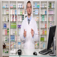 Young Pharmacist Specialist American Man Talking at Camera in Pharmaceutics Shop Stock Footage