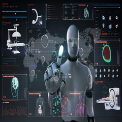 Robot touching World Medical health care service in the world, Remote diagnosis Stock Footage