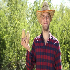 Optimistic Handsome Farmer Man Hold Brown Potato Market Products Looking Camera Stock Footage