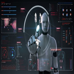 Robot, cyborg touching digital screen, Scanning kidneys in digital display. Stock Footage