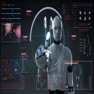 Robot, cyborg touching digital screen, Scanning kidneys in digital display. Stock Footage