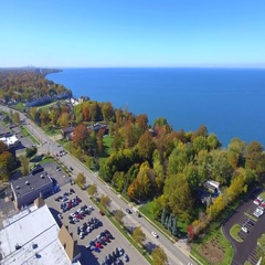 Aerial drone footage Willowick Lake Erie 4k Stock Footage
