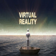Rising typo 'VIRTUAL REALITY', front of Robot, cyborg on a ship, in the ocean. Stock Footage