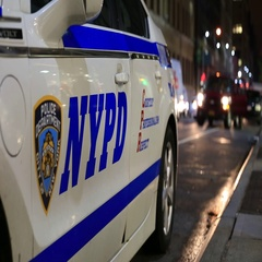 New York Police Department Vehicle at Night in Manhattan Stock Footage