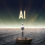 Rising typo 'A I', front of Robot, cyborg on a ship, in the ocean, sea. Stock Footage