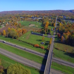 Aerial video upstate New York foliage Stock Footage