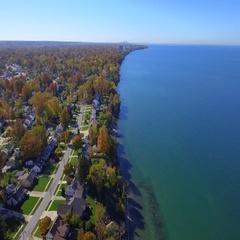 Ohio on Lake Erie aerial video Stock Footage