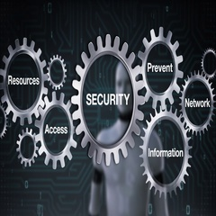 Gear with Information, Prevent, Access, Network, Robot touch 'SECURITY' Stock Footage