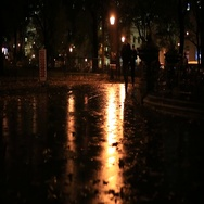 People in Madison Square Park in Manhattan New York at Night Stock Footage
