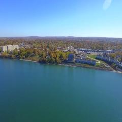 Aerial video lake Erie 4k Stock Footage