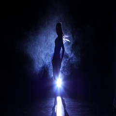 Dancing girl rumba in studio, silhouette. Blue backlight Stock Footage