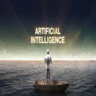 Rising typo 'ARTIFICIAL INTELLIGENCE', front of Robot on a ship, in the ocean. Stock Footage