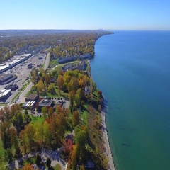 Aerial video of Ohio Willowick Lake Erie Stock Footage