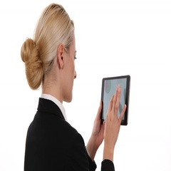 Confident Business Woman Looking a Pie Chart on Digital Tablet Company Workplace Stock Footage