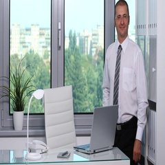 Happy Business Person Looking a Camera Hand Gestures Ok Sign Inside Office Room Stock Footage
