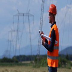Engineer Worker Man Taking Notes About Wire High Voltage Power Lines Network Job Stock Footage