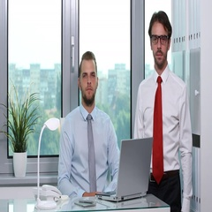 Ceo Businessmen Coworkers Looking Camera Posing Thumb Up Sign in Office Interior Stock Footage